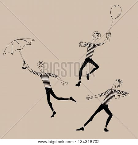 A set of Mimes performing a pantomime