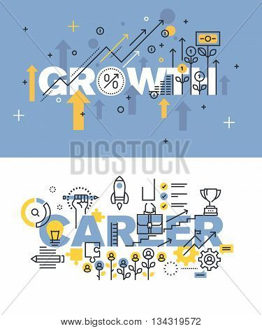 Set of modern vector illustration concepts of words growth and career. Thin line flat design banners for website and mobile website, easy to use and highly customizable.