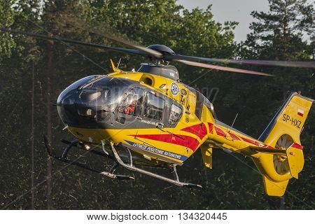 Bialystok Poland June 4 2016 Rescue helicopter approaches the landing