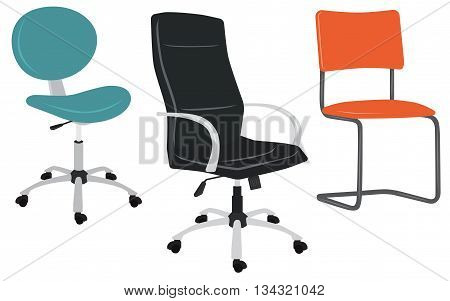Set of office chairs. Vector illustration isolated on white
