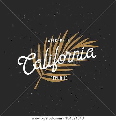 Welcome to California republic t-shirt vector graphics. California related apparel design. Vintage style illustration.
