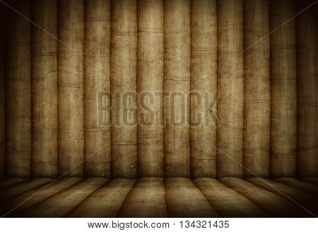 Bamboo.Bamboo room.Bamboo interior.Bamboo studio template. Old Bamboo background for montage or product presentation. 3D illustration