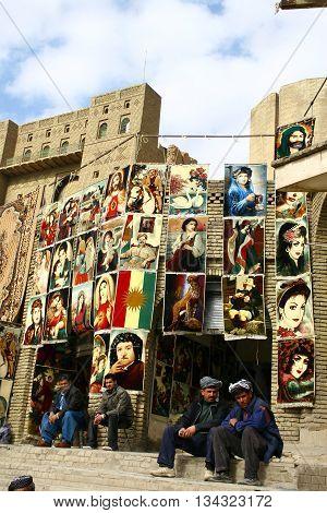 ARBİL,IRAQ-JANUARY 30, 2007 : The Traditional Kurdish Carpet dealers in Arbil City,Kurdistan,Iraq.