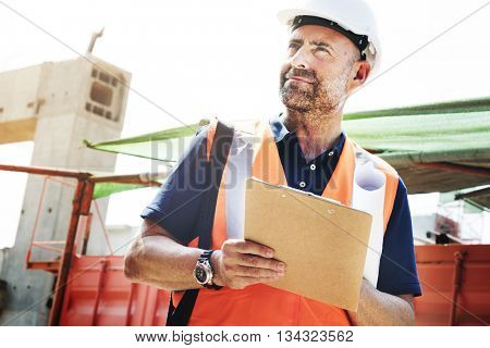 Construction Worker Planning Contructor Checking Concept