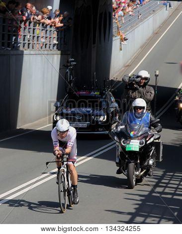APELDOORN, NETHERLANDS-MAY 6 2016: Jack Bobridge of pro cycling team Trek-Segafredo during the Giro d'Italia prologue time trial.