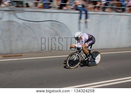 APELDOORN, NETHERLANDS-MAY 6 2016: Marco Coledan of pro cycling team Trek-Segafredo during the Giro d'Italia prologue time trial.
