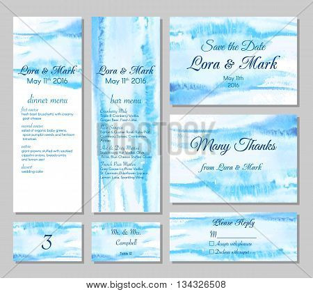 Wedding card collection - save the date menu bar menu invitation table cards and rspv card. Marine wedding set with beautiful hand drawn watercolor background.