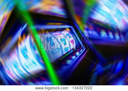 Casino Gambling Obsession Conceptual Illustration with Circular Motion Blurs