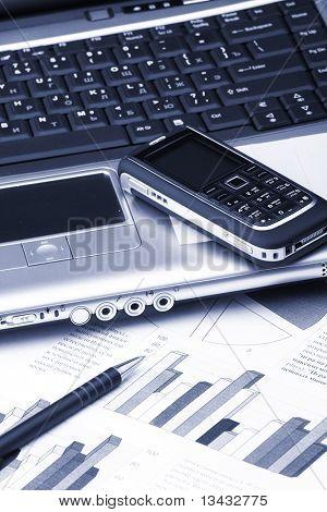 Portátil, teléfono, tecnología de negocios