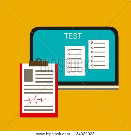 Online test. Vector illustration Online test. Computer online test and the form with the questionnaire. Flat design