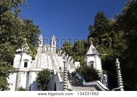 BRAGA, PORTUGAL - September 22, 2015: View of the stairway leading to the Basilica of Bom Jesus (Good Jesus) on September 22, 2015 in Braga, Portugal