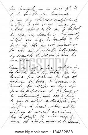 Undefined text with french words. Handwritten letter. Handwriting. Calligraphy. Manuscript. Script. Font. Abstract texture background