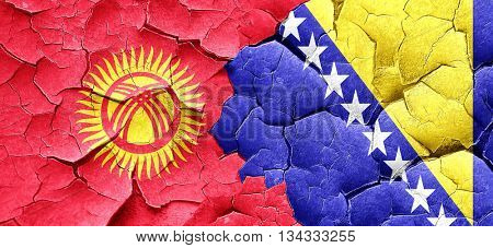 Kyrgyzstan flag with Bosnia and Herzegovina flag on a grunge cra poster