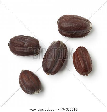 Brown Jojoba seeds on white background