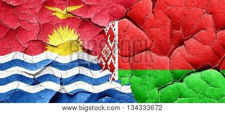 Kiribati flag with Belarus flag on a grunge cracked wall