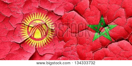 Kyrgyzstan flag with Morocco flag on a grunge cracked wall