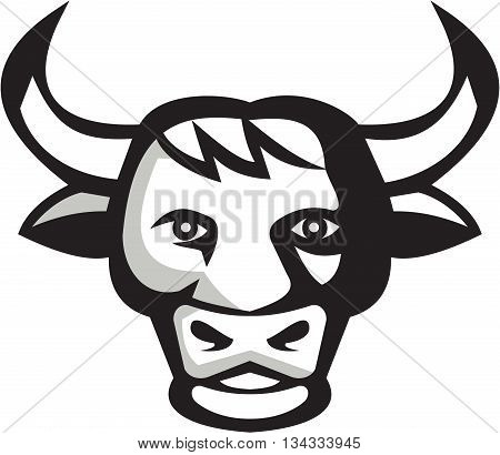 Illustration of a bull cow head smiling friendly facing front set on isolated white background done in retro style.