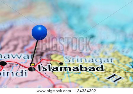 Islamabad pinned on a map of Pakistan