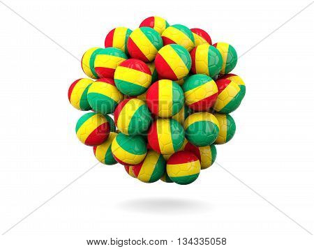 Pile Of Footballs With Flag Of Guinea