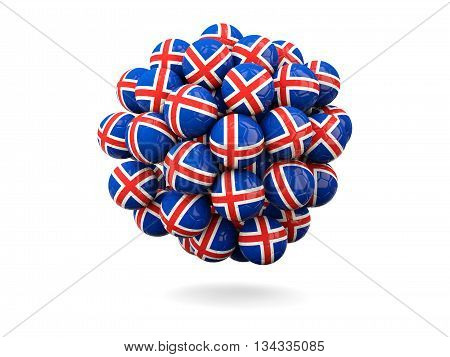 Pile Of Footballs With Flag Of Iceland