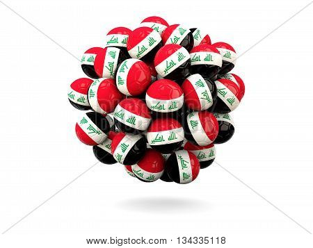 Pile Of Footballs With Flag Of Iraq