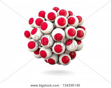 Pile Of Footballs With Flag Of Japan