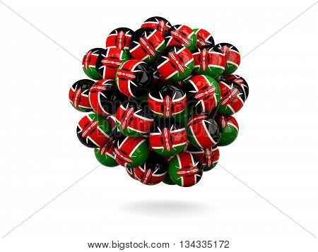 Pile Of Footballs With Flag Of Kenya