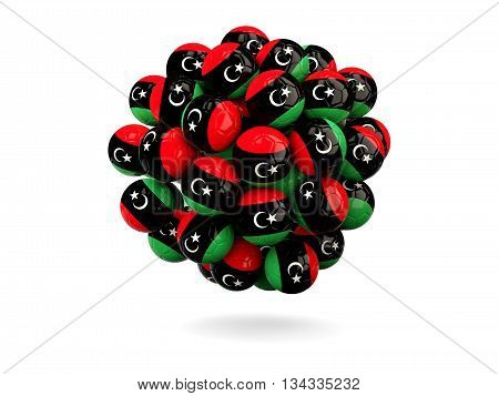 Pile Of Footballs With Flag Of Libya