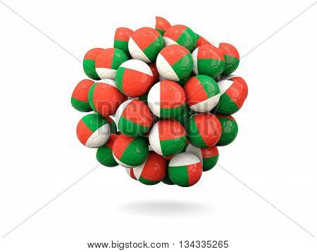 Pile Of Footballs With Flag Of Madagascar