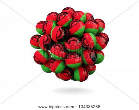 Pile Of Footballs With Flag Of Malawi