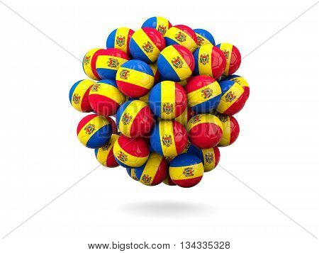 Pile Of Footballs With Flag Of Moldova