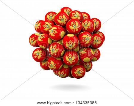 Pile Of Footballs With Flag Of Montenegro