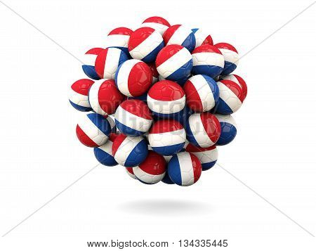 Pile Of Footballs With Flag Of Netherlands