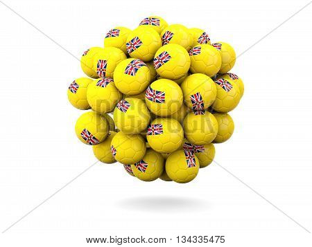 Pile Of Footballs With Flag Of Niue