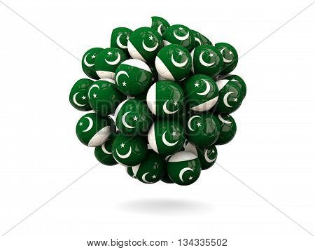 Pile Of Footballs With Flag Of Pakistan