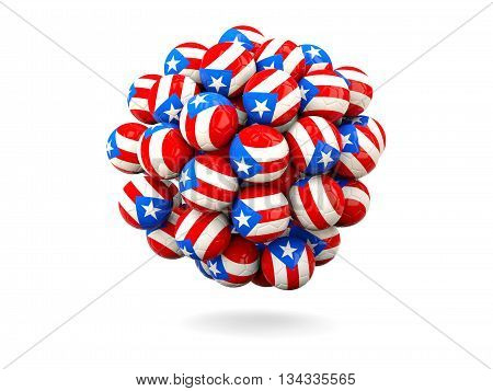 Pile Of Footballs With Flag Of Puerto Rico