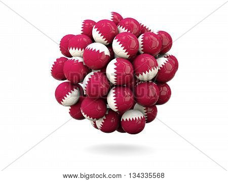 Pile Of Footballs With Flag Of Qatar