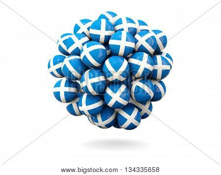 Pile Of Footballs With Flag Of Scotland