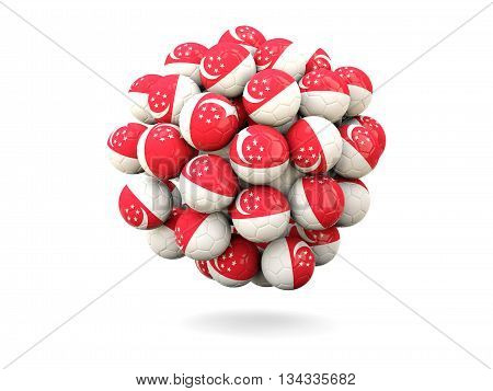 Pile Of Footballs With Flag Of Singapore