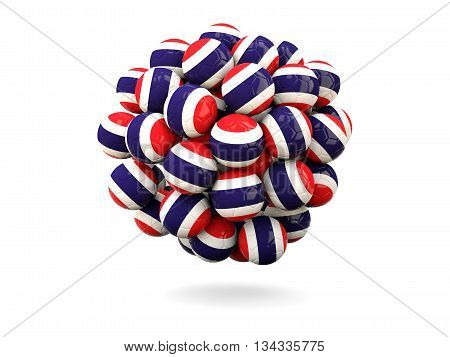 Pile Of Footballs With Flag Of Thailand