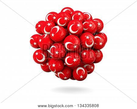 Pile Of Footballs With Flag Of Turkey