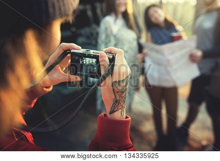 Camping Camera Groups Friendship  Map Concept