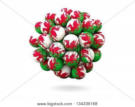 Pile Of Footballs With Flag Of Wales