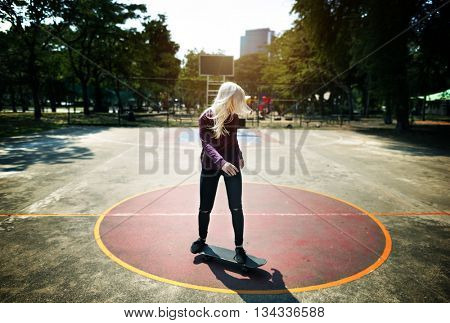 Woman Skateboarding Relax Sport Extreme Concept