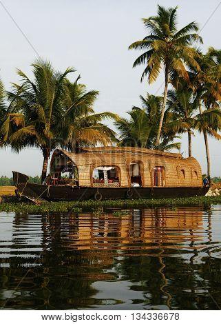 Houseboat on Kerala Backwaters India Concept