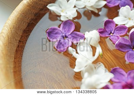 Fresh lilac flowers in the bowl, closeup