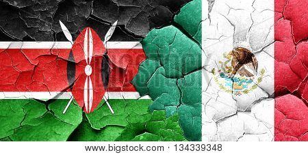 Kenya flag with Mexico flag on a grunge cracked wall