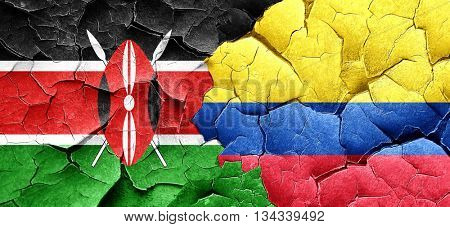 Kenya flag with Colombia flag on a grunge cracked wall