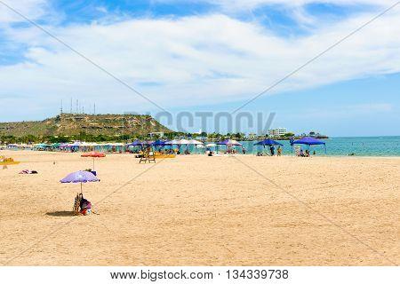 Playa De Chipipe In Salinas Ecuador.,