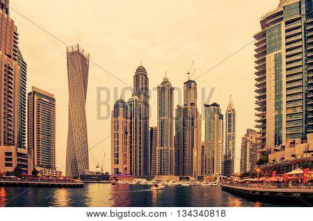 Dubai, United Arab Emirates: Marina in the beautiful colorful sunset